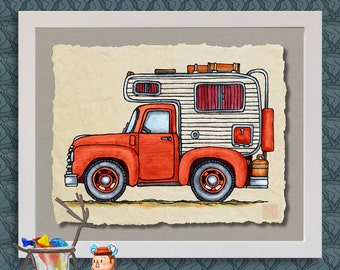 Pickup Truck Camper art print Cute whimsical slide in and happy camper prints add fun to RV, trailer or cabin as 8x10 & 13x19 wall decor