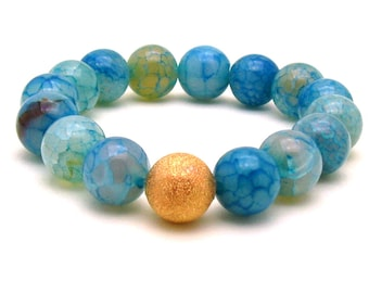 Blue Agate Beaded Bracelet Modern Blue Stretch Bracelet Gift for Her Mom Under 70