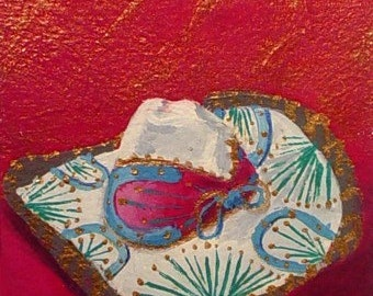 Original Painting * MEXICAN SOMBRERO *  ACEO Mini Painting * Small Art Format by Rodriguez