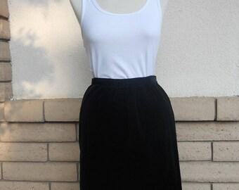 Black Velvet Skirt Pencil Skirt Size Small Waist 25