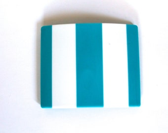 Vintage 1960's Mid Century Modern Blue and White Striped Womens Belt Buckle!