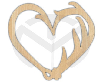 Unfinished Wood Fish Hook, Deer Antler Heart Laser Cutout, Wreath Accent, Door Hanger, Ready to Paint & Personalize, Various Sizes
