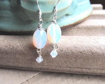 Opal Earrings Blue Opalite Swarovski Crystal Sterling Ear Wire Dangle Earrings