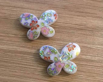 set of 4 beads Butterfly 29 x 22 mm