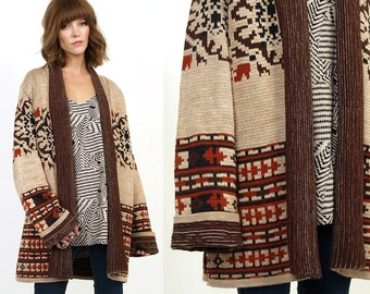 70's Ethnic TRIBAL BELL Sleeves Hippie Cardigan Sweater M