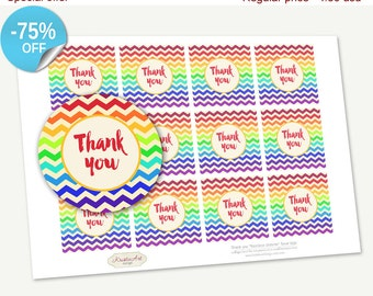 "75% OFF SALE Printable Favor Tags ""Thank you"" Rainbow Chevron, Printable Thank You, Cupcake Toppers, Printable Supplie, Sticker"