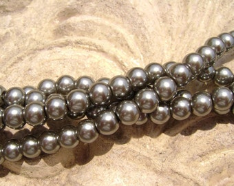 Pearlescent Glass Pearl Pearls Beads Black Grey 8mm Round LARGE 30mm Strand