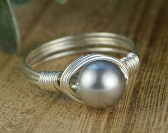 Sale! Light Grey Swarovski Pearl Wrapped Ring- Sterling Silver, Yellow or Rose Gold Filled Wire- Size 4 5 6 7 8 9 10 11 12 13 14 1/4 1/2 3/4