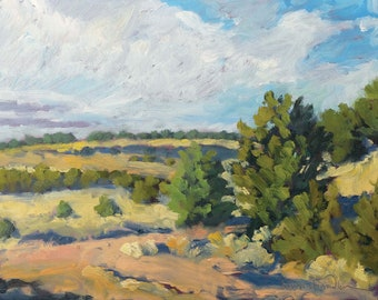 At the Morning Turn in the Road - Galisteo Basin - New Mexico - Original Oil Plein Air Landscape Painting
