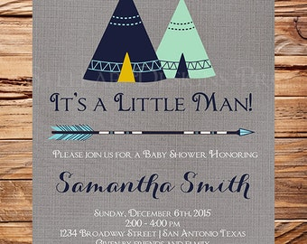 Tribal Baby Shower Invitation, TEEPEE baby shower invitation, Gray, Navy, Mint, Tribal, Pow Wow, Baby Shower Invite, Boy, Girl, MInt, 1512