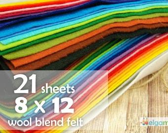 "8"" x 12"" Wool Blend Set, 21 colors, Soft Felt Sheets 20x30cm, Spanish Felt for handmade"