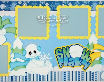 2 Premade Winter Snow Scrapbook Pages 12x12 Layout Paper Piecing Snowman Handmade 3