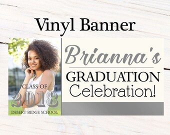 Graduation Class of 2018 Photo Banner ~ Congrats Grad Personalized Party Banners -Classic Graduation Large Banner, Printed Vinyl Backdrop