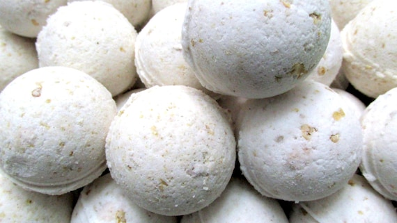 Oats Milk and Honey Bath Bomb Fizzy (Handmade, Exfoliates, Soothes skin, moisturizes, Individually wrapped and labeled wt. 3 oz net)
