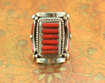 Coral red Boho ring, Tibetan tribal ring, boho gypsy hippie style
