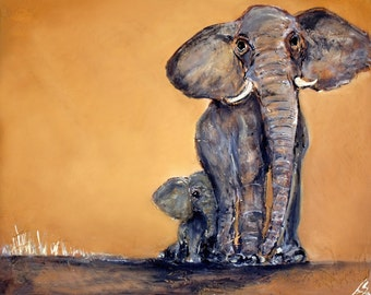 """Family Elephant Art Print, Limited Edition of 50, 11"""" x 14"""" Parent and baby elephants"""