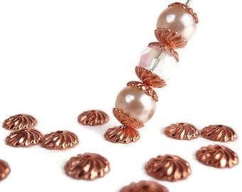 50 Brass Bead Caps,  Jewelry making Supply, Rose Gold (dark Rose tint), 7 mm diameter