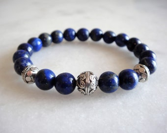 Mens bracelet with sterling silver and gemstone beads: lapis lazuli / Men lapis lazuli bracelet lapis custom made bracelet blue bracelet