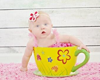 Flower Baby Headband, Newborn Headband, Floral Baby Crochet, Infant Girl Gift, Baby Girl Shower Gift, Tieback Headband, Newborn Girl Halo