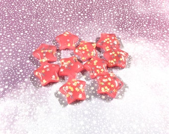 Pink Glitter Star Charms - 10 PCS