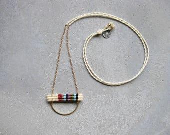 KALYANI Dainty Macrame Brass Necklace . Modern Fiber Textile Jewelry . Fully Adjustable . Design by .. raïz ..