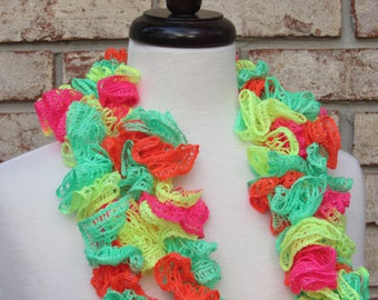 Neon pink and green ruffle scarf