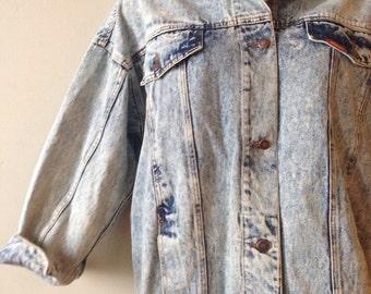 Vintage Denim Jacket Acid Wash 90s Jean Jacket Jordache Long XL to Plus Size Women