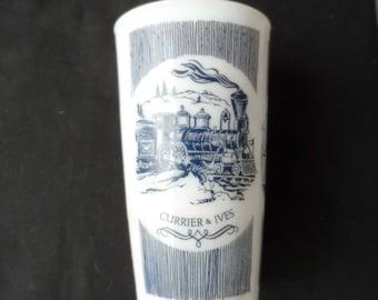 Vintage 1950s Anchor Hocking Currier And Ives Hazel Atlas Milk Glass     1261