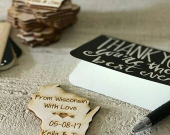 50 Wedding Favor, Wisconsin Wedding Favor State Magnets - Bride, Groom, Gift, Save the Date, Rustic, Custom, United States Magnets