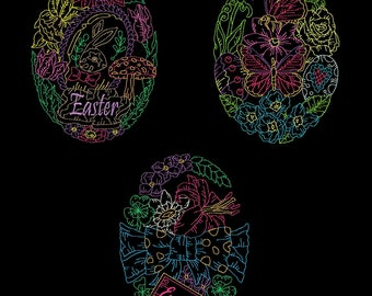 EASTER FLORALS (6inch) - 10 Machine Embroidery Designs Instant Download 6x6 hoop (AzEB)