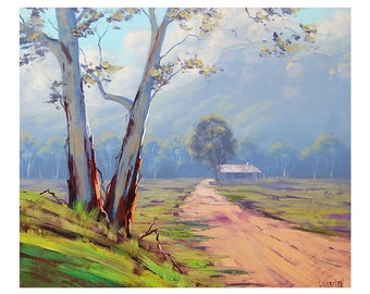 AUSTRALIAN FARM PAINTING landscape in Oil fine art by G.Gercken