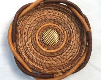 Pine Needle Basket with  Wooden Center- Item 799 by Susan Ashley