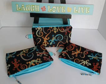 Small zippered pouch / Accessory case with side tab ring - Black with multi-color Gecko (Lizard) / Teal striped interior