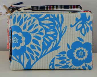 Zipper Pouch in Bouquet - cosmetic bag travel case diaper bag organizer medium blue flowers ipad mini kindle toiletry gift set