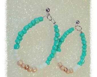 Aqua hoop earrings