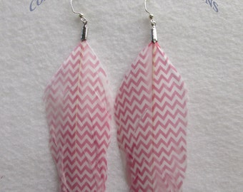 Dark Pink CHEVRON PRINT DESIGN Painted Colorful Feather Earrings