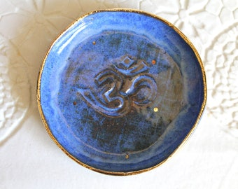 In Stock! Om Ring dish with 22k-OM Ring Holder - OM Candle Holder - Aztec Blue Ring Holder Om sign with 22k gold finish