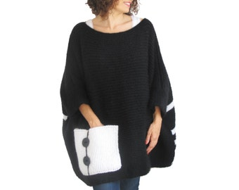 Plus Size - Over Size Sweater Black - White Hand Knitted Sweater with Pocket Tunic - Sweater Dress by Afra