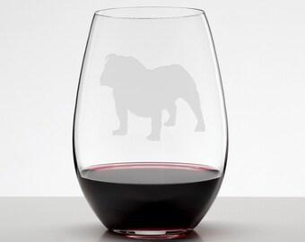 English Bulldog Standing, Bulldog Etched Stemless Wineglass, Wine Glass