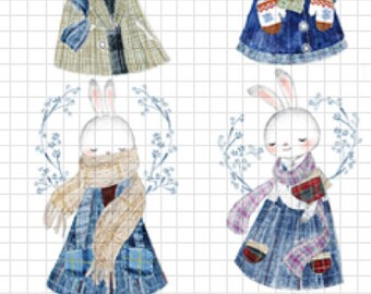 1 Roll of Limited Edition Washi Tape-  Adorable Rabbits
