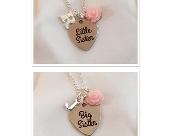 Sister necklaces-big sister-little sister-matching sister necklaces-set