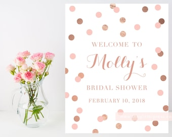 Printable Rose Gold Welcome sign, 8x10 confetti sign, rose gold and blush, baby bridal shower welcome, customizable sign, 005