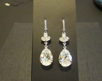 Large Swarovski Clear Crystal Earrings/Bridesmaid Earrings/Clear Swarovski Earrings/Bridal Jewelry/Wedding Earrings/Bridesmaid Earrings