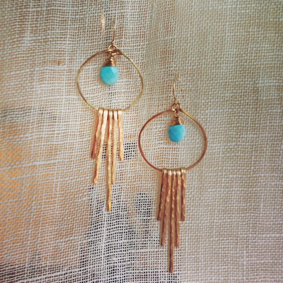 Desert Sky Hammered bronze earrings with Sleeping Beauty Turquoise