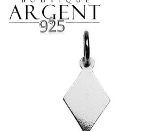 Charm diamond 15.8 mm X 7.1 mm Sterling Silver 925 for jewelry making