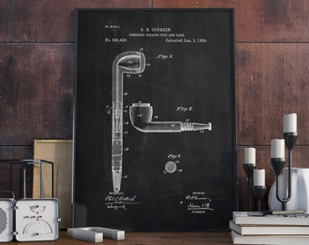 Tobacco Pipe Patent, Tobacco Pipe Art Print, Home Wall Art, Pipe Poster, Patent Print - DA0367