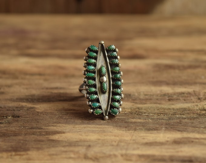 Featured listing image: Green Turquoise Size 5 3/4 (Tight Size 6)  Multistone Zuni ring