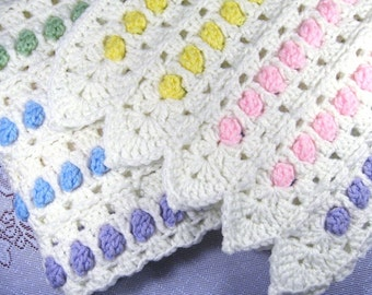 PDF Pattern Crocheted Baby Afghan, CANDY BUTTONS Baby Afghan Blanket Pattern