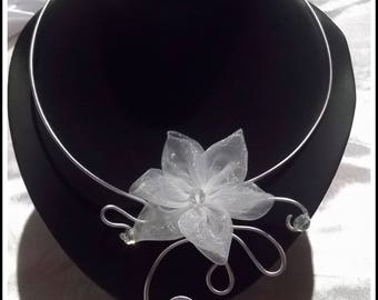 Organza flower bridal necklace