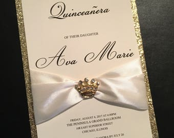Ivory and Gold Glitter Embellished Quinceanera Invitation